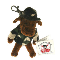 "Stuffed Animal House 5"" Standing Moose Camouflage Hat Coat Camo Jacket Keychain Wild Zipper Pull Mini Key Chain Tiny Soft Furry Fuzzy Clip Backpack Critter Canadian Wildlife"