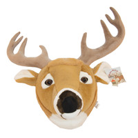 "Stuffed Animal House 11"" Whitetail Deer Head White-tail Wall Toy White Tailed Walltoy Wild Soft Furry Fuzzy Antlers Plush Critter Canadian North American Wildlife Hunting"