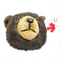 "Stuffed Animal House 12"" Black Brown Grizzly Bear Head Wall Mount Toy Walltoy Wild Soft Furry Fuzzy Plush Critter Canadian North American Wildlife Hunting Made in Canada"