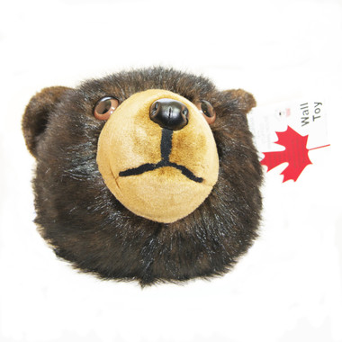 """Stuffed Animal House 12"""" Black Brown Grizzly Bear Head Wall Mount Toy Walltoy Wild Soft Furry Fuzzy Plush Critter Canadian North American Wildlife Hunting Made in Canada"""