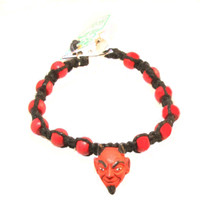 HOTI Hemp Handmade Red Devil Head Peruvian Ceramic Black Hemp Red Wood Beads Mens Bracelet Hand Crafted Made in Toronto Made in Ontario Made in Canada Tattoo Rocker Beaded Crow Beads 420 Alligator Clip Roach Clip Clip It Hand Crafted Clip