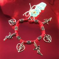 HOTI Hemp Handmade Red Classic Love Red Hemp Fancy Metal Beads Ladies Womens Charm Bracelet Hand Crafted Made in Canada Made in Toronto Made in Ontario Boho Chic Beaded Cupid Heart Winged Angel Charms Valentine's Day Clasp-It Lobster Clasp Toronto Ontario Canada Canadian