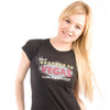 Be As You Are Las Vegas What Happens Black Ladies Tee Shirt Facebook Nevada T-Shirt Marquee Women's Top Front Zoom