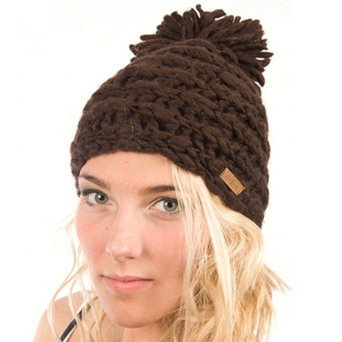 Delux Chocolate Brown Scandinavian Pom Pom Cable Knit Toque Youth Adult Knitted Winter Hat Warm Wool Cute