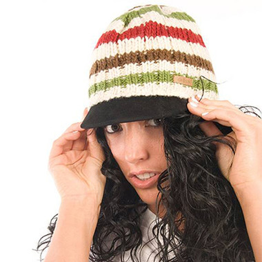 Delux Chocolate Brown Ivory Ruby Lime Cable Knit Striped Brimmed Cap Youth Adult Knitted Hat Warm Wool Winter Cute Beanie