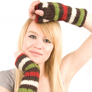 Delux Chocolate Brown Ivory Lime Green Rust Red Cable Knit Striped Fingerless Gloves Mittens Hand Warmers Youth Adult Knitted Warm Lined Wool Winter Cute Handwarmers Mitts
