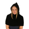 Delux Black Ninja Hood Geneva Capelet Winter Hat Cable Knit Youth Adult Knitted One Piece Hooded Scarf Knitwear