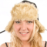 Delux Black Bushwacker Trapper Warm Winter Hat Youth Adult Golden Faux Fake Fun Fur Trim Brim Ear Flaps Wilderness Chic