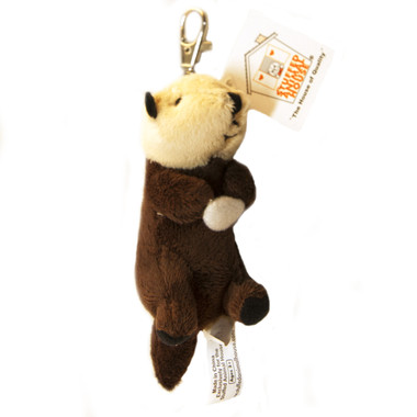 "Stuffed Animal House 5"" Laying Back Otter Keychain Clam Plush Toy Wild Wildlife Zipper Pull Mini Key Chain Tiny Soft Furry Fuzzy Clip Backpack Critter"