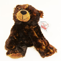 """Stuffed Animal House 7"""" Grizzly Bear Brown Black Northern Wildlife Plush Toy Fuzzy Furry Floppy Canada Maplefoot Embroidered Maple Leaf Canadian Critter"""