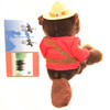 """Stuffed Animal House 8"""" Sergeant Brown Beaver Canada Wildlife Wild Plush Official Embroidered RCMP Royal Canadian Mounted Police Officer Stetson Flat-Brimmed Felt Hat  Red Jacket Buck Teeth Canadian Flag Tail Back"""