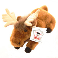 "Stuffed Animal House 9"" Long Brown Moose Realistic Wild Laying Down Plush Toy Canadian Wildlife Rare"