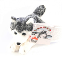 "Stuffed Animal House 7"" Siberian Husky Grey White Northern Wildlife Gray Dog Plush Toy Canada Collar Ribbon Lying down Fuzzy Furry Canadian Doggie Front"