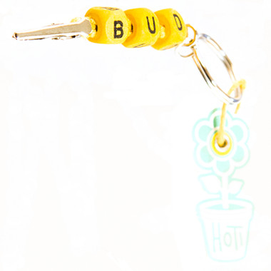 HOTI Hemp Handmade Bud Yellow Hemp Keychain Key Chain Wood Cube Square Alphabet Beads Word Up Made in Canada Hand Crafted Made in Toronto Made in Ontario Beaded Roach Clip 420 Clip-It Alligator Clip Canadian Toronto Ontario Canada