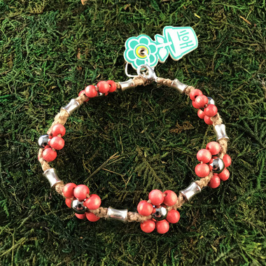 HOTI Hemp Handmade Natural Hemp Maria Signature Flower Power Anklet Coral Pink Silver Metal Beads Tube Dog Bone Beaded Ladies Women's Woman Ankle Bracelet Hand Crafted Made in Canada Made in Toronto Made in Ontario Boho Chic Clasp-It Lobster Clasp Toronto Ontario Canada Canadian