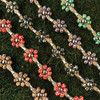HOTI Hemp Handmade Beige Natural Hemp Maria Signature Flower Power Anklet Red Black Green Brown Purple Collection Painted Wood Silver Metal Beads Tube Dog Bone Beaded Flowers Floral Ladies Women's Woman Ankle Bracelet Hand Crafted Made in Canada Made in Toronto Made in Ontario Boho Chic Clasp-It Lobster Clasp Toronto Ontario Canada Canadian