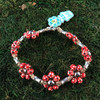 HOTI Hemp Handmade Beige Natural Hemp Maria Signature Flower Power Anklet Red Painted Wood Silver Metal Beads Tube Dog Bone Beaded Flowers Floral Ladies Women's Jewellery Woman Girls Ankle Bracelet Hand Crafted Made in Canada Made in Toronto Made in Ontario Boho Chic Clasp-It Lobster Claw Clasp Toronto Ontario Canada Canadian Jewelry