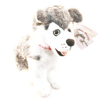 "Stuffed Animal House 12"" Siberian Husky Grey White Sitting Happy Smiling Gray Dog Plush Toy Canada Maple Leaf Collar Ribbon Fuzzy Furry Freckles Canadian Puppy Doggie"