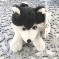 "Stuffed Animal House 7"" Siberian Husky Black White Northern Wildlife Puppy Dog Plush Toy Canada Collar Ribbon Lying down Fuzzy Furry Canadian Doggie Front"