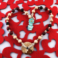 HOTI Hemp Handmade Picture Jasper Donut of Healing Picturesque Landscape Earth Stone Black Brown Brown-Red Tan Beads Wood Bead Natural Hemp Crystal Stone Mineral Ladies Women's DOH! Collection Knotted Necklace Hand Crafted Made in Toronto Made in Ontario Made in Canada Boho Chic Beaded Toronto Ontario Canada Canadian Made