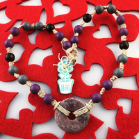 HOTI Hemp Handmade Amethyst Quartz Purple Donut of Healing Stone Violet Lavender Black Gray Grey Beads Wood Bead Natural Hemp Crystal Semiprecious Mineral Ladies Women's DOH! Collection Knotted Necklace Hand Crafted Made in Toronto Made in Ontario Made in Canada Boho Chic Beaded Toronto Ontario Canada Canadian Made