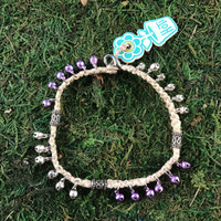 HOTI Hemp Handmade Natural Beige Hemp Anklet Purple Silver Metal Steel Bells Ring My Bali Bell Belles Metallic Jingle Bells Waves Studs Tube Bali Style Antique Silver Beads Ladies Woman Girls Women's Ankle Bracelet Hand Crafted Made in Canada Made in Toronto Made in Ontario Bali Boho Chic Clasp-It Lobster Claw Clasp Toronto Ontario Canada Canadian