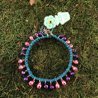 HOTI Hemp Handmade Turquoise Blue Hemp Anklet Pink Purple Mini Steel Metal Metallic Bells Ring My Bell Belles Ladies Women's Girls Jewellery for Woman Ankle Bracelet Hand Crafted Made in Canada Made in Toronto Made in Ontario Bali Boho Chic Clasp-It Lobster Claw Clasp Toronto Ontario Canada Canadian Jewelry