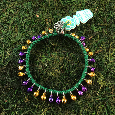 HOTI Hemp Handmade Green Hemp Anklet Golden Yellow Gold Bright Purple Mini Steel Metal Metallic Bells Ring My Bell Belles Ladies Women's Girls Jewellery for Woman Ankle Bracelet Hand Crafted Made in Canada Made in Toronto Made in Ontario Bali Boho Chic Clasp-It Lobster Claw Clasp Toronto Ontario Canada Canadian Jewelry