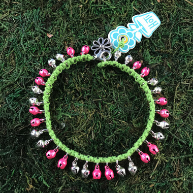 HOTI Hemp Handmade Lime Green Hemp Anklet Bright Hot Pretty Pink Silver Mini Steel Metal Metallic Bells Ring My Bell Belles Ladies Women's Girls Jewellery for Woman Ankle Bracelet Hand Crafted Made in Canada Made in Toronto Made in Ontario Bali Boho Chic Clasp-It Lobster Claw Clasp Toronto Ontario Canada Canadian Jewelry