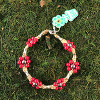 HOTI Hemp Handmade Beige Natural Hemp Maria Signature Flower Power Anklet Fuchsia Hot Pink Wood Silver Metal Beads Tube Dog Bone Beaded Flowers Floral Ladies Women's Jewellery Woman Girls Ankle Bracelet Hand Crafted Made in Canada Made in Toronto Made in Ontario Boho Chic Clasp-It Lobster Claw Clasp Toronto Ontario Canada Canadian Jewelry