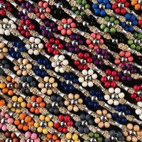 HOTI Hemp Handmade Natural Hemp Maria Signature Flower Power Anklet Red Orange Brown Green Yellow Blue Navy Pink Coral Black Beige White Purple Caramel Gray Grey Fuchsia Wood Silver Metal Beads Tube Dog Bone Beaded Flowers Floral Ladies Women's Woman Jewellery Girls Ankle Bracelet Hand Crafted Made in Canada Made in Toronto Made in Ontario Boho Chic Clasp-It Lobster Claw Clasp Toronto Ontario Canada Canadian Jewelry