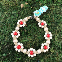 HOTI Hemp Handmade Beige Natural Hemp Daisy Chain Signature Flower Power Anklet White Red Wood Round Beads Beaded Flowers Floral Ladies Women's Jewellery Woman Girls Ankle Bracelet Hand Crafted Made in Canada Made in Toronto Made in Ontario Boho Chic Clasp-It Lobster Claw Clasp Toronto Ontario Canada Canadian Jewelry