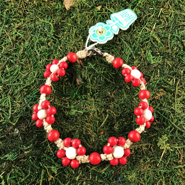 HOTI Hemp Handmade Beige Natural Hemp Daisy Chain Signature Flower Power Anklet Red White Wood Round Beads Beaded Flowers Floral Ladies Women's Jewellery Woman Girls Ankle Bracelet Hand Crafted Made in Canada Made in Toronto Made in Ontario Boho Chic Clasp-It Lobster Claw Clasp Toronto Ontario Canada Canadian Jewelry