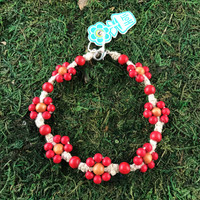 HOTI Hemp Handmade Beige Natural Hemp Daisy Chain Signature Flower Power Anklet Red Caramel Brown Wood Round Beads Beaded Flowers Floral Ladies Women's Jewellery Woman Girls Ankle Bracelet Hand Crafted Made in Canada Made in Toronto Made in Ontario Boho Chic Clasp-It Lobster Claw Clasp Toronto Ontario Canada Canadian Jewelry