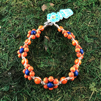 HOTI Hemp Handmade Beige Natural Hemp Daisy Chain Signature Flower Power Anklet Orange Blue Wood Round Beads Beaded Flowers Floral Ladies Women's Jewellery Woman Girls Ankle Bracelet Hand Crafted Made in Canada Made in Toronto Made in Ontario Boho Chic Clasp-It Lobster Claw Clasp Toronto Ontario Canada Canadian Jewelry