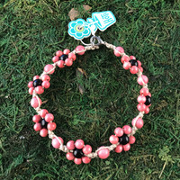 HOTI Hemp Handmade Beige Natural Hemp Daisy Chain Signature Flower Power Anklet Black Coral Pink Round Beads Beaded Flowers Floral Ladies Women's Jewellery Woman Girls Ankle Bracelet Hand Crafted Made in Canada Made in Toronto Made in Ontario Boho Chic Clasp-It Lobster Claw Clasp Toronto Ontario Canada Canadian Jewelry