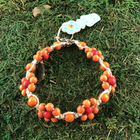 HOTI Hemp Handmade Beige Natural Hemp Daisy Chain Signature Flower Power Anklet Orange Red Round Beads Beaded Flowers Floral Ladies Women's Jewellery Woman Girls Ankle Bracelet Hand Crafted Made in Canada Made in Toronto Made in Ontario Boho Chic Clasp-It Lobster Claw Clasp Toronto Ontario Canada Canadian Jewelry