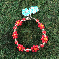 HOTI Hemp Handmade Beige Natural Hemp Daisy Chain Signature Flower Power Anklet Red Orange Round Beads Beaded Flowers Floral Ladies Women's Jewellery Woman Girls Ankle Bracelet Hand Crafted Made in Canada Made in Toronto Made in Ontario Boho Chic Clasp-It Lobster Claw Clasp Toronto Ontario Canada Canadian Jewelry