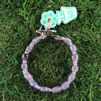 HOTI Hemp Handmade Light Purple Hemp Hockey Puck Drop Off Season Fashion Opaque Shaded Glass Crow Beads Mens Man Roach Clip Bracelet Hand Crafted Jewellery Made in Toronto Made in Ontario Made in Canada Beaded Crow Beads Glass Beads 420 Cannabis Marijuana Accessory Weed Pot Stoner Accessories Clip It Alligator Clip Clasp Toronto Ontario Canada Canadian NHL Inspired Men's Jewelry
