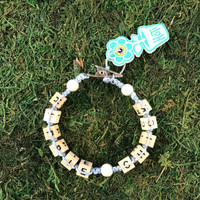 HOTI Hemp Handmade Hippie Chick Pale Light Blue Hemp Square Wood Cube Alphabet Brown Natural Beads White Round Bead Women's Ladies Woman Beaded Jewellery Word Up Roach Clip Bracelet Hand Crafted Made in Toronto Made in Ontario Made in Canada Beaded Wood Beads Square Beads 420 Cannabis Accessory Marijuana Weed Accessories Pot Mini Metal Alligator Clip Clip It Clip Toronto Ontario Canada Canadian Jewelry