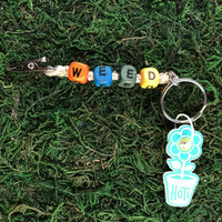 HOTI Hemp Handmade Weed Natural Hemp Keychain Key Chain Wood Cube Square Alphabet Beads Multi Colour Orange Turquoise Blue Green Yellow Word Up Roach Clip Made in Canada Hand Crafted Made in Toronto Made in Ontario Beaded Weed Pot Accessory Cannabis Marijuana Accessories Stoner Gift Mary Jane 420 Clip-It Alligator Clip Canadian Toronto Ontario Canada