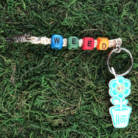 HOTI Hemp Handmade Weed Natural Hemp Keychain Key Chain Wood Cube Square Alphabet Beads Multi Colour Turquoise Blue Green Red Orange Word Up Roach Clip Made in Canada Hand Crafted Made in Toronto Made in Ontario Beaded Weed Pot Accessory Cannabis Marijuana Accessories Stoner Gift Mary Jane 420 Clip-It Alligator Clip Canadian Toronto Ontario Canada