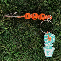 HOTI Hemp Handmade THC Orange Hemp Keychain Key Chain Wood Cube Square Alphabet Beads Word Up Roach Clip Made in Canada Hand Crafted Made in Toronto Made in Ontario Beaded Weed Pot Accessory Cannabis Marijuana Pot Accessories Dope Stoner Gift Mary Jane 420 Clip-It Alligator Clip Canadian Toronto Ontario Canada