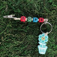 HOTI Hemp Handmade Dope Natural Hemp Keychain Key Chain Wood Cube Square Alphabet Beads Multi Colour Red Green Turquoise Blue Word Up Roach Clip Made in Canada Hand Crafted Made in Toronto Made in Ontario Beaded Cannabis Accessory Weed Pot Mary Jane Accessories 420 Stoner Gift Clip Clip-It Alligator Clip Canadian Toronto Ontario Canada