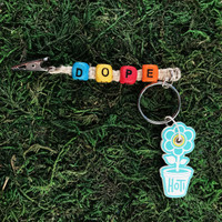 HOTI Hemp Handmade Dope Natural Hemp Keychain Key Chain Wood Cube Square Alphabet Beads Multi Colour Red Yellow Orange Turquoise Blue Word Up Roach Clip Made in Canada Hand Crafted Made in Toronto Made in Ontario Beaded Cannabis Accessory Weed Pot Mary Jane Accessories 420 Stoner Gift Clip Clip-It Alligator Clip Canadian Toronto Ontario Canada