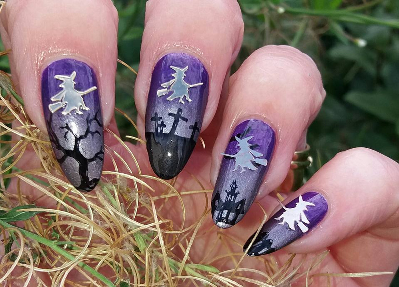 witch nail art decals nail design featuring witches nail decals