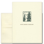 "Sympathy Card - Pines is a vintage illustration of pine trees above the words ""with deepest sympathy"""