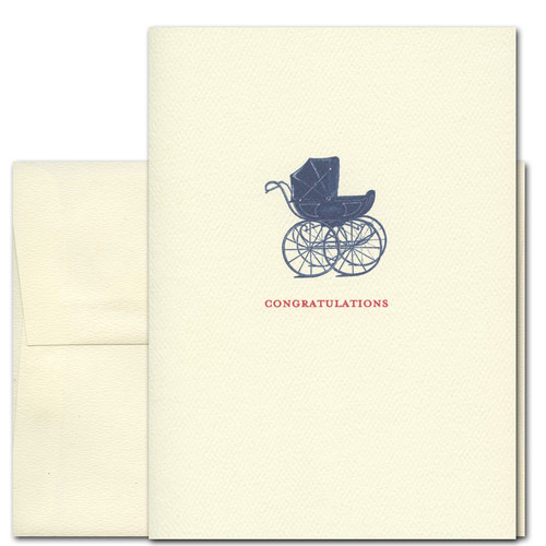 baby congratulations card newborn first ride has a vintage illustration of a baby