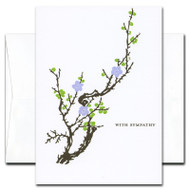Boxed Sympathy Card - Blooming Branch cover shows a design adapted from early 20th century artwork showing a tree branch with emerging spring leaves and blossoms.  Quote is 'With Sympathy'