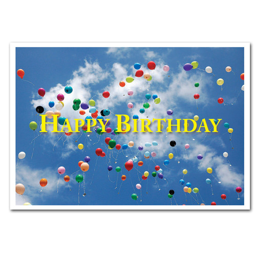 Business birthday cards flying balloons boxed for corporate and boxed business birthday card flying balloons cover showing many multi colored balloons flying high colourmoves Gallery